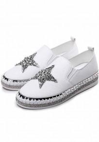 White Round Toe Flat Rhinestone Casual Ankle Shoes