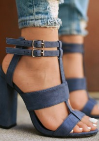 Blue Round Toe Chunky Buckle Fashion High-Heeled Sandals