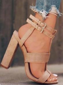 Beige Runde Zehe Riemchen Blockabsatz Mode Hochhackige Sandalen Damen Schuhe