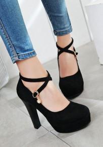 Zapatos punta redonda hebilla gruesa moda tacón alto negro
