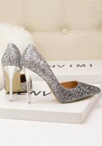 Zapatos punta de punta lentejuelas moda tacón alto plata
