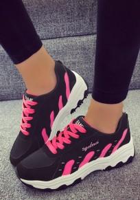 Schwarze und Rote runde Zehe flache Flickwerk Beiläufig Knöchel Schuhe