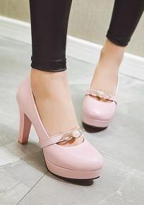 Zapatos puntera redonda perla gruesa dulce de tacón alto rosa