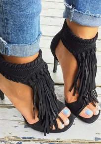 Black Round Toe Stiletto Tassel High-Heeled Sandals