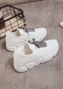 White Round Toe Flat Cross Strap Casual Ankle Shoes