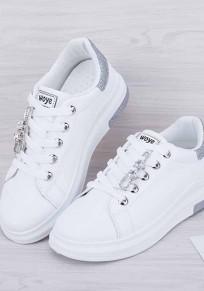Weiß und Silber Runde Zehe Pailletten Strass Mode Knöchel Schuhe