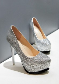 Chaussures bout rond coiffert paillettes mode à talons hauts argent