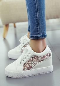 Chaussures bout rond coupe plate décontracté à semelles épaisses blanc
