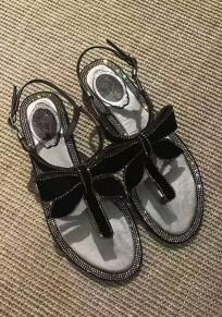 Silber Runde Zehe Flache Schleife Strass Schnalle Mode Sandalen