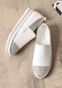 Chaussures bout rond strass plat décontracté à semelles épaisses blanc