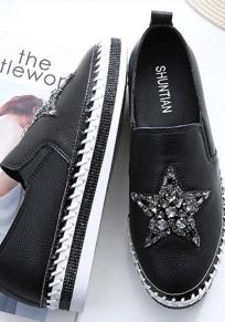 Chaussures bout rond strass plat décontracté à semelles épaisses noir