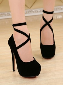 Black Round Toe Stiletto Buckle Fashion High-Heeled Shoes