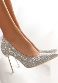 Zapatos punta del dedo del pie aguja de diamantes de imitación de moda de tacón alto dorado