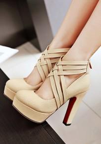 Scarpe A punta tonda con cinturino incrociato alla moda con tacco alto beige