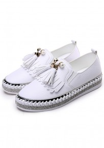White Round Toe Flat Pearl Tassel Casual Shoes