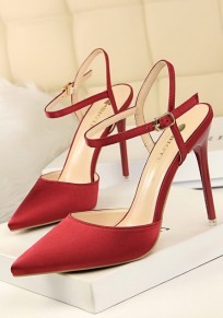 Wine Red Point Toe Stiletto Cut Out Fashion High-Heeled Sandals