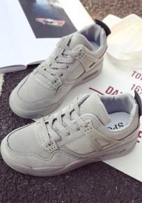 Chaussures bout rond plat décontracté à semelle lourde gris