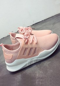 Pink Round Toe Flat Cross Strap Casual Ankle Shoes