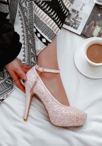 Zapatos punta redonda lentejuelas aguja tacón alto rosa