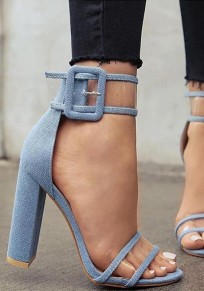 Sky Blue Round Toe Chunky Buckle Fashion High-Heeled Sandals