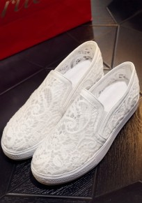 White Round Toe Flat Lace Casual Ankle Shoes