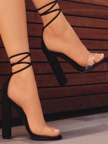 Black Round Toe Chunky Lace-up Fashion High-Heeled Sandals