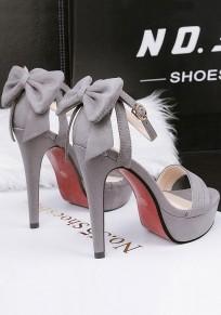 Sandalias punta redonda hebilla de aguja moda de tacón alto gris