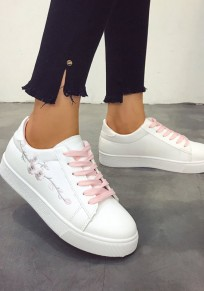 Chaussures et blanc bout rond mode broderie cheville rose