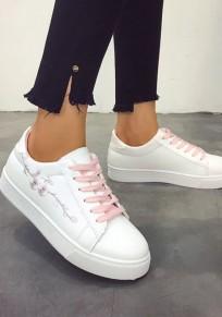Rosa und weiße runde zehe Stickerei Mode Knöchel Schuhe