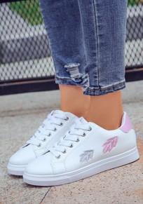 Weiße und rosa runde Zehe flache Stickerei Beiläufig Knöchel Schuhe