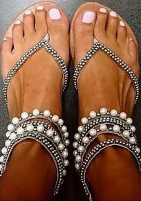 Silber Runde Zehe Flache Perlen Reißverschluss Zehentrenner Sommer Beiläufige Hippie Sandalen Damen