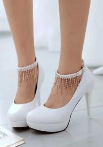 Chaussures bout rond coiffert strass mode à talons hauts blanc