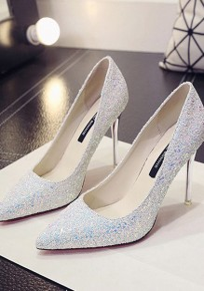 Weiß Punkt Zehe Stiletto Pailletten Glitzer Mit Hohen Absätzen Schuhe Pumps Hochzeit Damen Mode