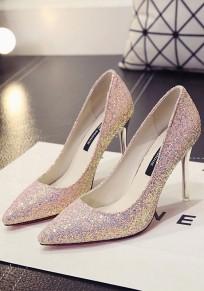 Chaussures bout pointu coiffert paillettes mode à talons hauts rose