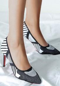 Chaussures et blanc pointe coiffert mode à talons hauts noir