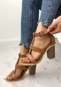 Brown Round Toe Chunky Casual High-Heeled Sandals