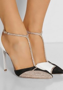 White Point Toe Stiletto Rhinestone Fashion High-Heeled Shoes