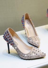 Zapatos punta del dedo del pie remache de aguja moda de tacón alto albaricoque