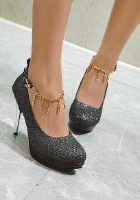 Black Round Toe Stiletto Rhinestone Sequin Fashion Pumps