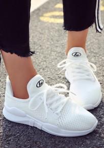 Chaussures bout rond mode à lacets cheville blanc