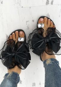 Schwarze Runde Zehe Flache mit Strass Steinen Glitzer Schleife Zehentrenner Strand Sandalen Flip Flops Sommer Damen Schuhe