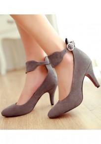 Graue Spitze Zehe Stilett Schnalle Mode Schuhe mit hohen Absätzen