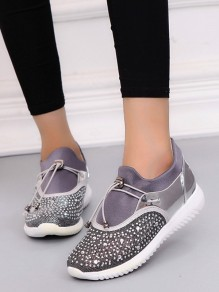 Silver Round Toe Flat Rhinestone Casual Heavy-Soled Shoes