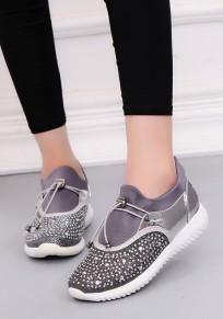 Silber Runde Zehe Flache Strass Beiläufig Heavy-Soled Schuhe