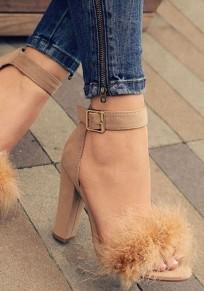 Brown Round Toe Chunky Buckle Fashion High-Heeled Sandals