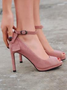 Rosa Runde Zehe Stiletto Schleife Fesselriemen Riemchen High Heels Pumps Elegant Sandalen mit Absatz Damen Schuhe