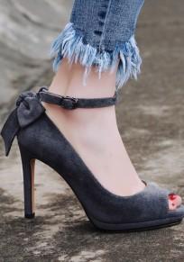 Zapatos piscine boca estilete pajarita moda tacón alto gris