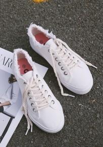 Zapatos punta redonda correa cruzada tobillo casuales blanco