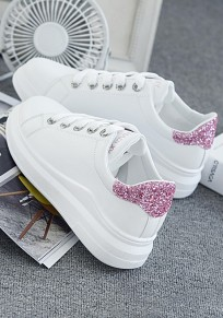 Chaussures et rose bout rond paillette plat décontracté cheville blanc