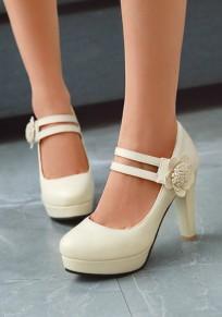 Chaussures bout rond trapu fleur mode à talons hauts beige